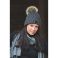 Back On Track Woollen Hat With Faux Fur Pom Pom