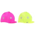 Fluorescent Lycra Riding Hat Cover With Stars - One Size